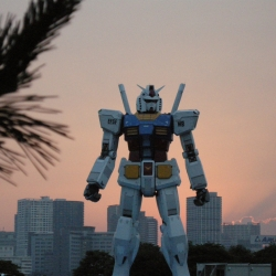Oh boy!  To celebrate the thirtieth anniversary of Gundam, a sixty foot monument has just taken its place in Odaiba Park, Tokyo.