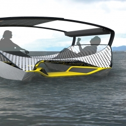 A folding solar catamaran concept dubbed a 'portable, affordable beach party away from shore' created by designers Jeffrey Greger and Timo Bücker while studying abroad in Darmstadt, Germany.