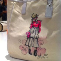 Coach teamed up with PaperFashion to create one of a kind totes during their Fashion's Night Out event in NYC - illustrated on the spot!