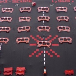Red Stripe worked with Filthy Luker to create a giant Space Invaders on the side of Manchester Town Hall.