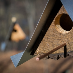 Birdhouse using wood and metal, easily recycled after housing few generations of our avian friends. Image by Barney Leonard Design by Moger Mehrhof Architects.