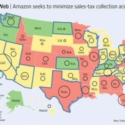 Amazon Sales Tax Map of the U.S. Interesting look at Safe, Neutral, and Bad states...
