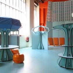 "French designer Matali Crasset has completed the interior of La Maison des Petits (""House for Children"") at the centre for artistic creation and production 104 CENT QUATRE in Paris-France."