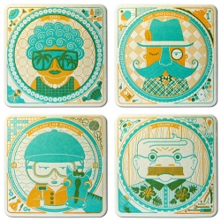 The Cranky Pressman's amazing Letterpressed Coasters ~ the characters are adorable, and wait till you see the details on the back.