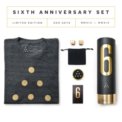 Limited Edition 6th Anniversary Set from Ugmonk. Featuring solid brass dice, triblend tee, woven patch, and custom gold foil packaging. Made in the USA. Only 200 sets ever made.