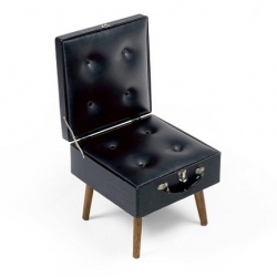 Seatcase by dutch designer Rachel Griffin. A chair created from second hand materials: an old microscope box and discarded chair parts.