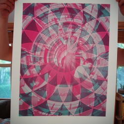 Hadron Colliders Art Print w/ Cyan + Magenta variation from Paloma Chavez.