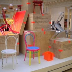 Sam Baron and Fabrica designed these strange and funny wooden chairs for Le Bon Marché Rive Gauche parisian store.