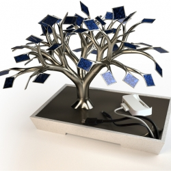 """photosynthesis"" - harnessing solar energy for the life of our electronics! You can recharge your cellphone and camera with this solar-cell ""tree charger."" Concept by French sculptor Vivien Muller."