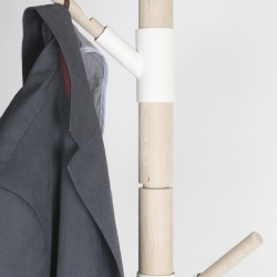 Storable Coat Rack by Bram Vanderbeke: A coat rack, completely storable in a metal box. The various connecting pieces can be assembled in different ways. So it is possible to adjust the rack to the location where it will be placed.