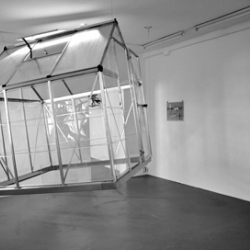 A smell-sound sculpture «Flying Glasshouse» by Oswaldo Macia showing at Galerie Coucou, Kassel. June, 2012.
