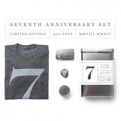 To celebrate Ugmonk's 7th Anniversary they designed this special limited edition set. Each tee is packaged in a special tin with letterpress label and includes a solid steel heptahedron.