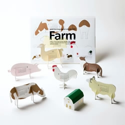 Farm is a kitset paper animal calendar by Katsumi Tamura. When fully assembled it makes a delightful miniature farm complete with six different animals.