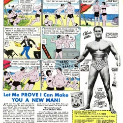 Vintage bodybuilding ads - beat the bully and get the girl.  Has advertising moved on much since?