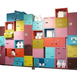 Designer Alessandro Zambelli. Iron cabinet joined together. A mix of color and designs.