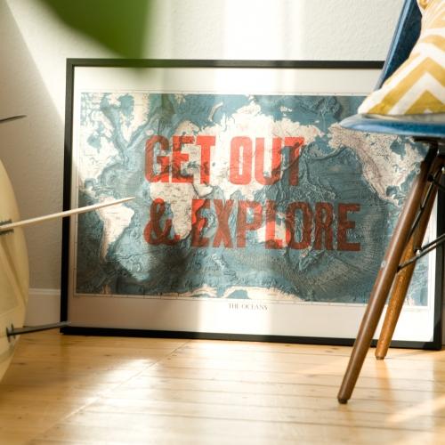 Get out & explore the oceans. Original letterpress woodtype print poster on vintage ocean map by 877 Workshop
