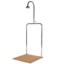 "For Tectona, french designer Inga Sempé has designed ""Delta"", an outdoor shower made of teak and inox. Minimalist and elegant."