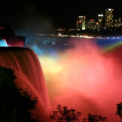 Niagara Falls with beautiful  lights! Amazing effect!