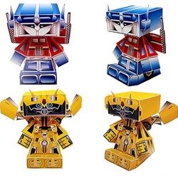 Check out these HedKase styled paper Transformer toys designed by NiceBunny. Download Optimus Prime or BumbleBee, print, and then assemble.