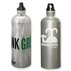 "Nice graphic design on the Patagonia Sigg Bottles... particularly liking the ""live simply"" whale."