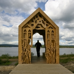 Freya's Cabin by Studio Weave in the Northumbrian wilderness of Kielder Water is inspired by the love story between Freya and Robin...