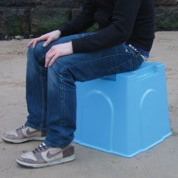 The sandcastle stool: Basing the design on a sandcastle bucket, designandstuff created a  solution which is stackable, can store other beach items, and creates huge sandcastles!