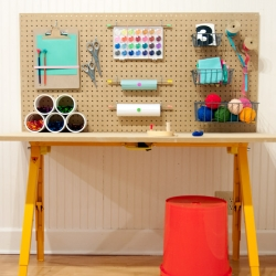 Minimal craft desk and workspace for kids. Designed by Rachel Faucett.