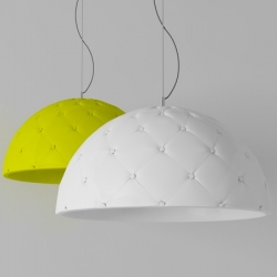 """""""Clamp"""" by italian designers Enrico Zanolla and Andrea Di Filippo from DZ Studio. A suspended lamp with a padded shade inspired by Chesterfield couchs."""