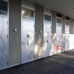 A fragrance manufacturing laboratory, Sakae Aromatic, in Japan uses pictographic signs on each factory door to reveal the fragrance being produced inside. Designed by aoydesign.
