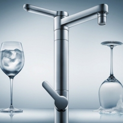 """Filtro Twin"" faucet by Deca. This two-in-one faucet features two taps: one to supply filtered drinking water and the other for cooking or cleaning water."