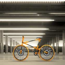 Compact-able Urban Bicycle designed by Victor M. Aleman to save space when it is being transported or not in use.