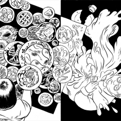 A nice black and white illustration series by Angie Wang. Love in the time of plenty is a simple meaning that plays true.