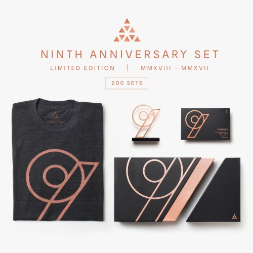 To celebrate 9 years, Ugmonk designed this special 9th Anniversary Set complete with tee, rose gold nine emblem and custom packaging. Only 200 sets ever made.