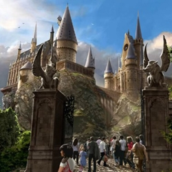 A Preview of the Wizarding World of Harry Potter Theme Park – Artists have drawn artworks to show the world a small preview of the magical theme park at Universal Studios' Islands of Adventure resort, in Orlando, opening in 2010.
