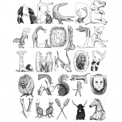 Beautiful alphabet illustrations based on beasts, birds, sea life and robots from Love Letters Art. High quality prints and hand drawn single letters perfect in a nursery or children's bedroom and make a special gift to be treasured.