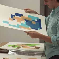 Classic 8bit video game characters inspired these abstract geometric screen prints. Digital-centric design contrasted by completely analog printing methods, and the films hand-cut out of rubylith. By Craig Winslow.