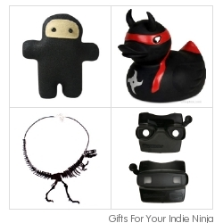 "In rebellion against traditional gift guides, lets get creative! Here's my Thanksgiving morning, ""Gifts for your Indie Ninja"" - aka gorgeously fun black products"