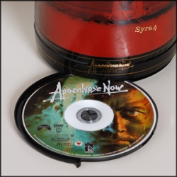 Francis Ford Coppola designed DVD in a bottle.   The man behind some of the greatest films ever made, keeps his innovation coming. Apocalypse Now Redux DVD in a Bottle [Editor's Note: shop - wines - large format - there are 2  DVD ones]