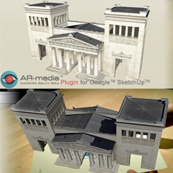 With ARplug-in, Google Sketch-Up: visualize 3D models directly in the real physical space! Sketch-Up 3D models can be visualized directly on users' desktop, by connecting webcam and a printout. By Inglobe tech