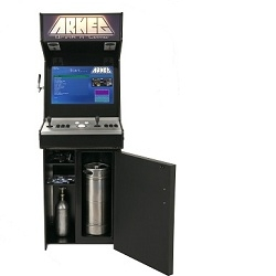 The ARKEG from custom arcade manufacturers, Allstarcade, brings friends together through a retro-look, modern-convenience innovation.  Complete draft system integrates pouring cold beers and playing classic games with friends.
