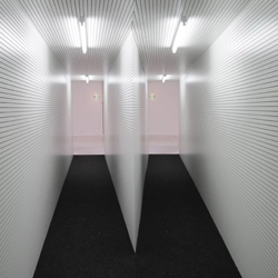Funhouse-style installations by Danish artists AVDP that challenge normal perceptions with their spatial construction.