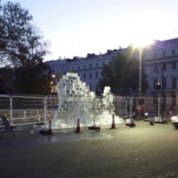 A 'Berlin Wall' made of ice bricks has been built outside the German Embassy in London today to mark 20 years since the fall of the Wall.