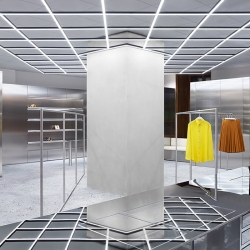 Acne Studios' seventh Stockholm retail space is like a lesson in geometry; lines, planes, angles, shapes and grids.