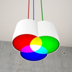 RGB Lamp. A lamp inspired by the additive color model designed by German and Swiss product designers Fabian Nehne and Martin Meier.