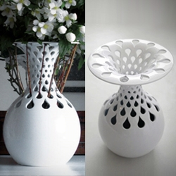 "FOC helped Ailin Lacey, a graduating student from Dublin, 3D-print her 'Old is new again' vase. ""Through the act of flower arranging, the vase can very simply transform in aesthetic."""