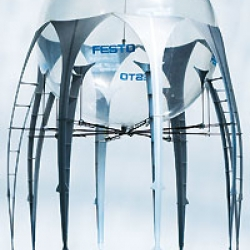 This new concept of a jelly fish that flies through the air has been presented by Festo at the 2008 Hannover Messe in Germany.