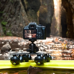 The AirTracks; a 5' inflatable all-terrain camera slider that rolls up smaller than a lens.