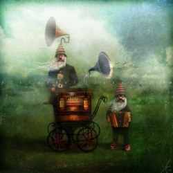 Alexander Jansson is a Swedish artist who's mystical world is full of miniature houses placed on trees, elephants, and funny-looking characters.