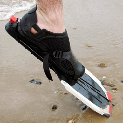 Quit eye-ing those sexy ankles! Amphibian is a set of fins that are an aid for lifeguards (and Baywatch beauties) patrolling the beaches. They help the lifeguard swim over faster and have some pretty cool features.
