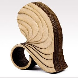 Wearable art from Anthony Roussel -- rings and bracelets made from wood and cork.